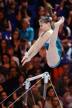 Brilliant when gymnastics becomes a tiny bit odd, Ukraine's Nataliya Kononenko on the uneven bars