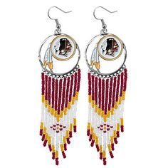 NFL Washington Redskins Dreamcatcher Earring  https://allstarsportsfan.com/product/nfl-washington-redskins-dreamcatcher-earring/  Earring measures 1″ x 4.5″ Nickel free Team color and logo dream catcher