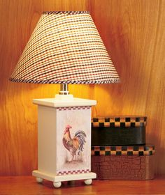 chicken lamps for the kitchen | ... ROOSTER Country Style Living Decor Checkered Gingham Shade Table Lamp