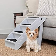 awesome PetSafe CozyUp Folding Pet Steps – Foldable Stairs for Dogs and Cats – Best for Small to Large Pets – Large, Grey CONTINUE CUDDLE TIME: Use the steps to help your best friend climb up on the sofa or bed all by themselves to improve quality time together SAFETY TESTED FOR DURABILITY: 20-inch steps support pets weighing up to 150 pounds; 25-inch steps support pets weighing up to 200... Dog Stairs, Pet Steps, Stair Steps, Grey Dog, Pet Treats, Large Animals, Dog Supplies, Large Dogs, Dog Bed