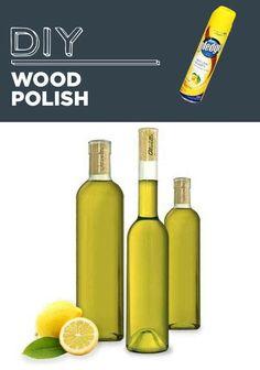 Limpiador de madera Mezcle 2 partes de aceite (aceite o aceite de oliva preferentemente de linaza) con una parte de jugo de limón. Aplicar y pulir con un paño suave. Pula con cera de abeja y un paño de microfibra para dar más brillo.