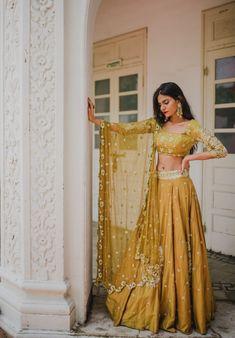 Pleats Mumbai Has The Best Lehengas Fo.- Love this mustard lehenga set by Pleats Mumbai - Indian Bridal Wear, Indian Wedding Outfits, Indian Outfits Modern, Indian Fashion Modern, Pakistani Bridal, Indian Attire, Indian Ethnic Wear, Pakistani Dresses, Indian Dresses