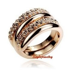 18k Gold Plated Women Wedding Bridal Swarovski Crystal Twisted 2 Ring Set  R181