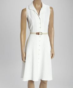 Ladies Belted Sleeveless Shirt Dress - Size 8 NWT Sharagano White Texture  #Sharagano #ShirtDress #Casual
