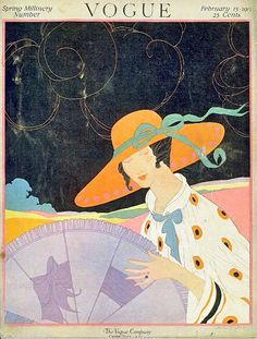 Vintage Vogue Covers. February 1917 #1917 #vogue #covers