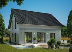 Einfamilienhaus Fassadengestaltung Mit Fassadenplatten Grau Putz Weiß    Fertighaus Architektur Haus Celebration 150 V1 Bien Zenker