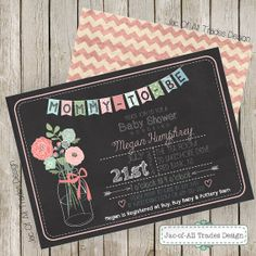 Vintage & Shabby Chic Baby Shower Invitation FULLY CUSTOMIZABLE with bunting flag banner, mason jar, flowers and chalkboard background! on Etsy, $19.00