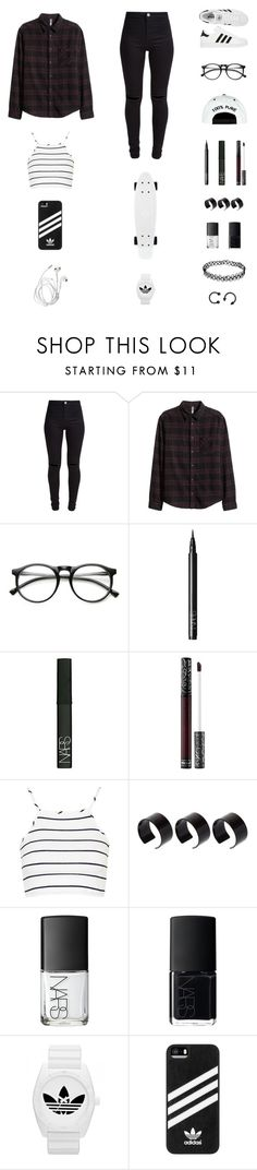 """30 Day Challenge : 3.] A book you love."" by musicsavedme1313 ❤ liked on Polyvore featuring New Look, adidas, INDIE HAIR, NARS Cosmetics, Kat Von D, Topshop and ASOS"