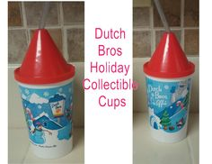 TWO DUTCH BROTHERS BROS COLLECTIBLE HOLIDAY COFFEE CUPS WITH LIDS & STRAWS