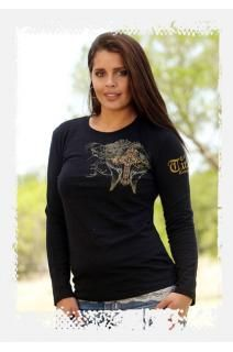 Cowgirl Tuff Co. Black long sleeve slub tee with bleaching effect. Copper foil cross on front and back.Bleached detail wings on back with detail on sleeve.