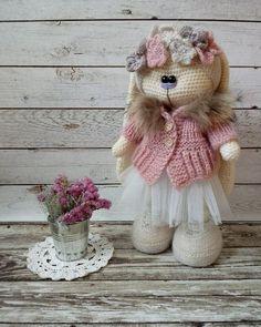 Crochet Doll Pattern, Crochet Toys Patterns, Amigurumi Patterns, Stuffed Toys Patterns, Doll Patterns, Crochet Rabbit, Knit Or Crochet, Knitted Dolls, Crochet Dolls