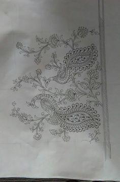 Handmade Embroidery Designs, Hand Embroidery Patterns Free, Border Embroidery Designs, Embroidery Motifs, Corset Sewing Pattern, Elephant Artwork, Flower Art Drawing, Kalamkari Painting, Jewelry Design Drawing