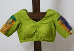 Light Green Blouse with Kantha Work Sleeves – Desically Ethnic