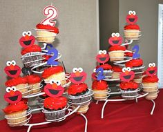 """Elmo & Friends Party - use Cricut cartridge, """"Sesam Street Friends"""" for Elmo cup cake toppers & use Cricut Cake to make the toppers out of gum paste (see matching party bags on my board, """"Let's PARTY"""") ~ Am"""