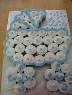 Baby buggy cupcake cake baby shower