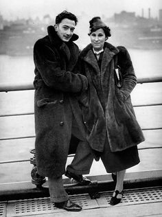 Salvador Dali and Gala arriving in New York aboard Normandie