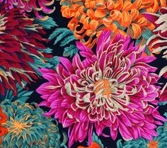 Japanese Chrysanthemum Scarlet Cotton Fabric by Philip Jacobs