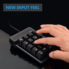 USB Wired 19 Keys Mini Slim Numeric Keypad Mechanical Feeling For Laptop PC Computer Accounting Keyboard #Affiliate
