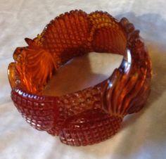 Vintage carved bakelite large bangle bracelet pineapple extraordinary scotch…