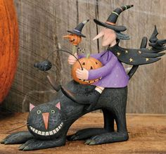 Witch Riding on Back of Cat and Holding Pumpkin Figurine – Halloween Folk Art Collectibles – Williraye Studio Halloween Arts And Crafts, Halloween Magic, Halloween Doll, Holidays Halloween, Happy Halloween, Halloween Decorations, Halloween Witches, Halloween 2019, Halloween Ideas