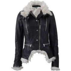 Alexander Mcqueen High Neck Leather Jacket With Shearling