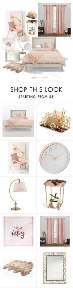 """Rosegold Modern Bedroom"" by veofficial ❤ liked on Polyvore featuring interior, interiors, interior design, home, home decor, interior decorating, Design Ideas, Bosc, Lite Source and Hello Darling"