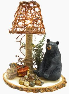 Bear Rustic Cabin Night Light Lamp Fishing Lake House Woodsy Cabin Decor Hunting Fire Camping Woods