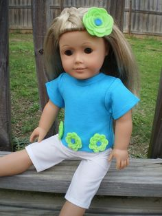 Turquoise Limegreen White   Capri pant set made for the 18 inch American Girl Dolls