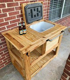 Wood Cooler, Patio Cooler, Outdoor Cooler, Cooler Cart, Outdoor Bar Cart, Diy Outdoor Bar, Backyard Bar, Patio Bar, Balcony Bar