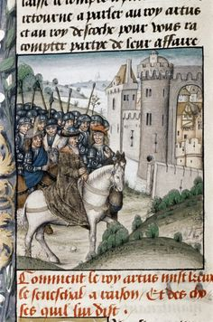 King Arthur and his knights return to Camelot after a tournament. This image is from a 14th-century manuscript.<br />