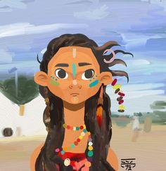 Hawaiian girl illustration