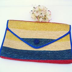 "Vintage Woven Straw Purse Boho Clutch Bag Tropical by WhimzyThyme It measures 13"" x 9"". From the side the width is about 1 ¾""."