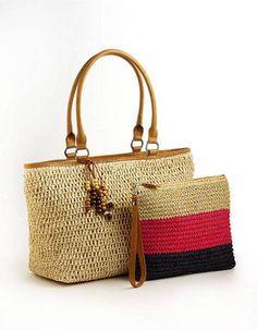 Shop for Woven Tote Bag by Straw Studios at ShopStyle. Crochet Clutch, Crochet Handbags, Crochet Purses, Crochet Bags, Love Crochet, Knitted Bags, Studio Weave, Crochet World, Pouch