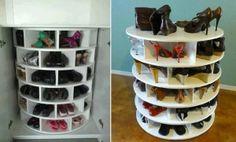 Lazy Susan Shoe Storage Plans