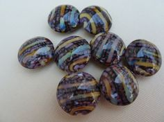 Reduced 20% Off Artisan Beads Hand Made Lampwork by BijouxBeads (Craft Supplies & Tools, Jewelry & Beading Supplies, Beads, Round & Ball Beads, beads, jewelry, glass, hand made, lampwork, green, flame on glass, yellow, purple, teal, lentil bead, lampwork bead, effetre glass)