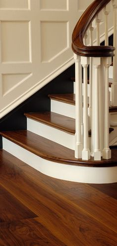 Walnut flooring on stairs.