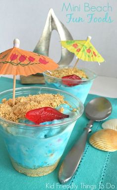 Easy Mini Beach Ice Cream Fun Food - Perfect for Under the Sea, Ocean, and Finding Dory parties - http://KidFriendlyThingsToDo.com
