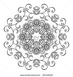 Sketch style round floral ornament - stock vector