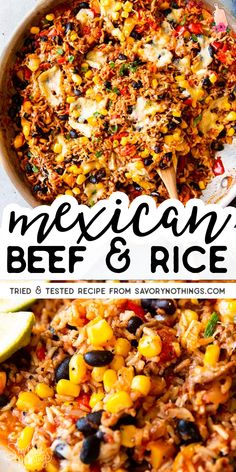 Ever ask yourself what to make with ground beef and rice? This Mexican Beef and Rice Skillet is your answer: An easy weeknight dinner, all cooked in one pot! Less dishes to wash is always a win recipes for dinner Super Easy Mexican Beef and Rice Skillet Ground Beef Recipes For Dinner, Dinner With Ground Beef, Healthy Dinner Recipes, Healthy Food, Ground Beef Rice, Thai Recipes, Geound Beef Recipes, Dinner Recipes With Rice, Recipies With Ground Beef