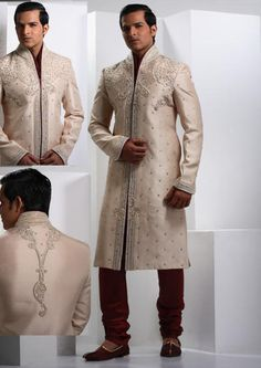 Serene Off White Raw Silk Sherwani Online Shopping: MCD225