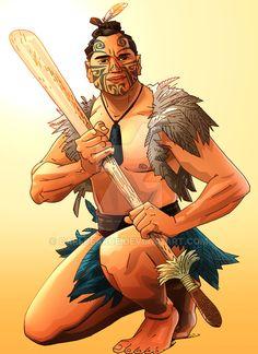 Maori Hunter by CarlPearce Character Concept, Character Design, Story Drawing, Warrior Drawing, Nz Art, Maori Art, World Of Darkness, Kiwiana, Anime Comics