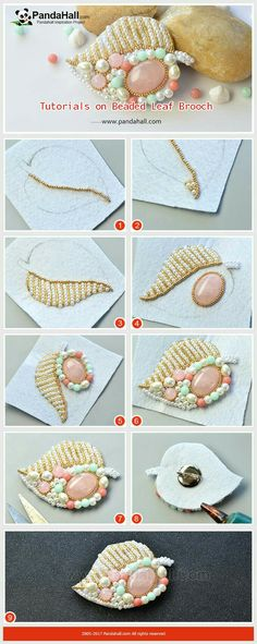 beaded brooch Tutorials on Beaded Leaf Brooch The main materials of the brooch are glass pearl beads, gold seed beads and gemstone beads. The making way is to braid the beads together. Wearing the brooch will show your female elegance and delicacy! Bead Embroidery Tutorial, Embroidery Leaf, Bead Embroidery Patterns, Bead Embroidery Jewelry, Pearl Embroidery, Pearl Beads, Gemstone Beads, Seed Beads, Bead Jewellery