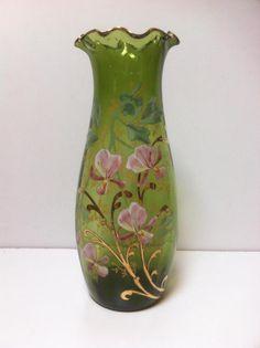 Vase verre à collerette émaillé relief décor floral Legras Montjoye Art nouveau
