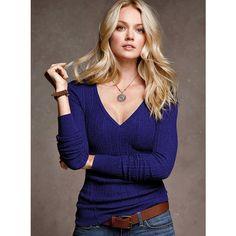 Victoria's Secret Cotton Thermal V-Neck Sweater ($35) via Polyvore