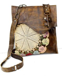 Boho Leather Messenger Bag with Multi-Colored Crochet Doily and Antique Key