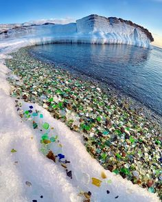 It looks like a dream landscape where there are jewels instead of stones – but this is a real beach, on Russia's Pacific shoreline .