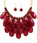 love this color, dark red necklace and earring set