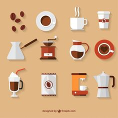 Coffe Vectors, Photos and PSD files Illustration Design Plat, Coffee Illustration, Funny Illustration, Digital Illustration, Web Design, Icon Design, Flat Design Icons, Flat Icons, Design Layouts