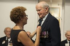 14 April 2015 eight New Zealand Veterans were awarded the French Legion of Honour by the French Ambassador to New Zealand H. Mrs Florence Jeanblanc-Risler at ceremony held at the National Mueseum of the Royal New Zealand Navy. Legion Of Honour, World War Two, Florence, Pilot, Two By Two, Presentation, Navy, Hale Navy, World War Ii
