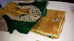 Green blouse with stone work.. get it done at http://mytailor.in